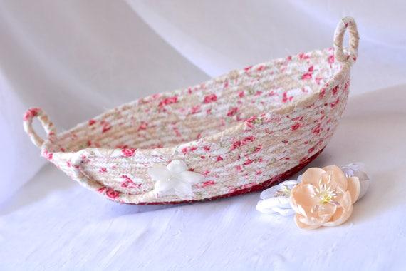 Artisan Eyeglass Basket, Handmade Candy Dish Bowl, Key Ring Holder, Desk Accessory, Quilted Textile Art Basket, English Garden Floral Decor