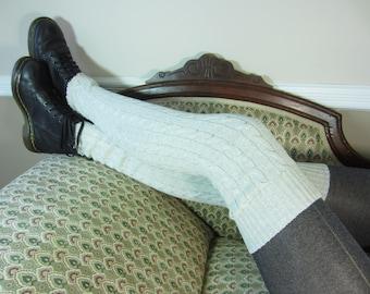 Thigh High Leg Warmers Over Knee Socks Gray Tan Heather Knit Boot Sock Grey A1362-2