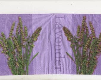 3207 - Set of 4 napkins theme bouquet of lavender