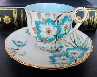 Tea Cup And Saucer Set Royal Stafford 8312 Blue Interior Bone China Demitasse Espresso Turquoise Oriental Floral Design Blue Interior