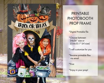 Halloween Party Trick or Treat, Costume Party, Pumpkin Carving, Witches Ghouls Ghosts Wizard Monsters Halloween Photo Booth Frame Prop