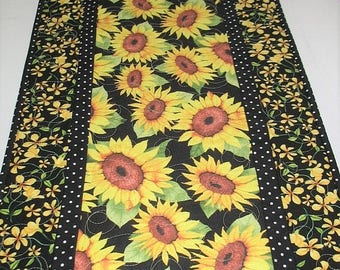Sale Christmas in July Sunflower Table Runner,  quilted, handmade, wall hanging, door hanger, leaves and pumpkins, Thanksgiving, Reversible