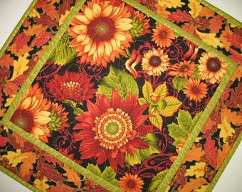 Autumn Table Topper, Sunflowers,  handmade table topper, quilted, fall leaves, focus fabric Henry Glass