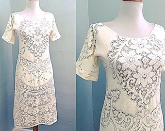 Vintage Lace Dress /BoHo Wedding Dress /Hippie Wedding Dress / Short Sleeve / 1970s Cotton Cream Lace Crochet MiDi Dress / Sheer Cut Out