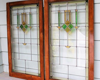 Craftsman Pair of Antique Leaded Glass Windows -  Wall Art