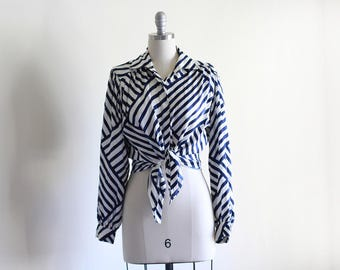 Vintage 80's Silky Blouse / Abstract Striped Blouse / Blue and White / Loose Blouse / Medium