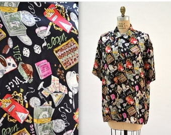 SALE 90s Vintage Nicole Miller Silk Shirt with Vices Smoking, Money, Chocolate, Gambler, and Partying Size Medium Large