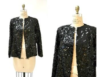 Vintage Black Sequin Jacket Large XL// Black Silk Sequin Jacket Size Large Holiday Metallic Sequin Jacket