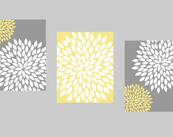 Yellow Gray Wall Art, Bedroom Pictures, Bathroom Artwork, Flower Wall Art, Floral Prints, Flower Burst Dahlia, Home Decor, Bath Wall Art