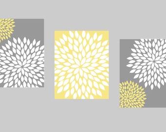 Yellow Flower Wall Art yellow gray wall art | etsy