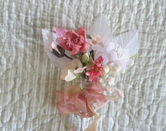 BOUQUET mini flowers vintage millinery cloth flowers 12 stems  tussie mussie