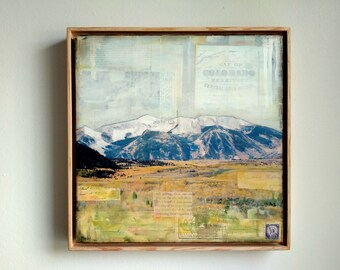 """Mountain Art, 12x12"""" Original in a 13x13 floating frame, Mixed Media Photography, Colorado Mountains, Crested Butte, CO Art """"Kebler Pass II"""""""