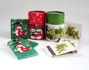 Vintage Christmas Colored Matches, Match Sticks, Decorative Matchbooks, Farmhouse, Home Decor, Unique Gifts, Wood Match Sticks