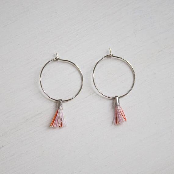 the Laurel -earrings in Sorbet (small halo hoop earrings with tassel minimal every day )