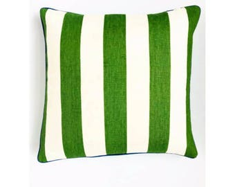 Green Cabana Stripe Pillow Cover with Blue Piping