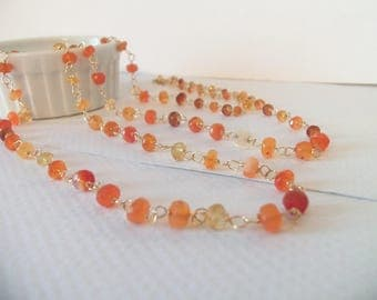 Mexican Fire Opal Natural Gemstone Wire Wrapped Handmade Necklace with 14kt  Gold Fill Long Necklace