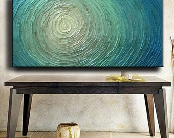 SALE Big Ready Ship Abstract Painting 48 x 24 Custom Original Abstract Heavy Blue Silver White Aqua Water Carved Oil Painting Je Hlobik