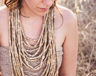 Extra Large Tribal Bamboo Necklace ~