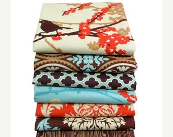 SALE 10% Off - FAT QUARTER Bundle - Aviary 2 by Joel Dewberry - Free Spirit Fabric - Saffron Palette - 7 FQs