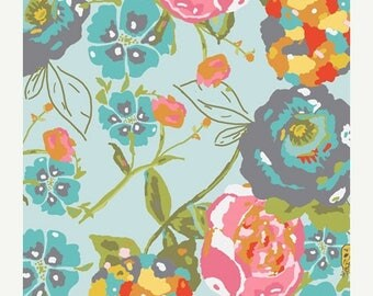 SALE 10% Off - Lilly Belle - Garden Rocket in Turquoise (LB-1100) - Bari J for Art Gallery Fabrics - By the Yard
