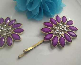 Purple Studded pin,  Bobby Pin,  tichel pin,  unique hair covering,  hair accessories, by oshratDesignz rhinestone