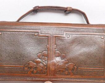 Vintage Art Deco Hand Tooled Leather Purse - Vintage Leather Purse - Leather Clutch - Art Deco Purse