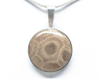 Sterling Silver Petoskey Stone 20mm Round Pendant