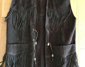 1970's Mens Brown Fringe Suede Leather Vest by Pioneer Wear Size Large- hippie vest, fringe vest, leather fringe vest, Pioneer Wear, western