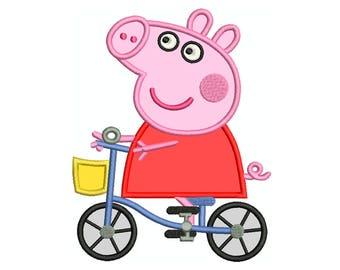 PEPPA PIG BIKE * Machine Applique Embroidery * Instant Digital Download