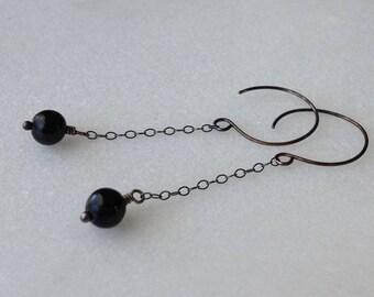Black Tourmaline Black Sterling Silver Long Earrings Chandelier Drop Dangle Genuine Black Tourmaline Gemstone Stone Oxidized Silver