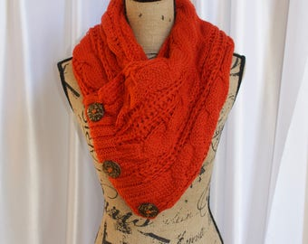 Boston Harbor Scarf with buttons Women Chunky Scarf buttons Scarf Scarlet Red Knitted Scarf Women Scarf Christmas Gift under 50