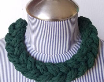 Big Green Necklace, Recycled Materials, Crochet Necklace, Bold Choker