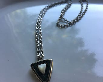 Vintage Silver & Stone Pendant Necklace