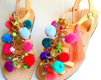 Boho sandals, pompom sandals, boho gladiators, women's sandals, greek sandals sandales femme chaussure grec