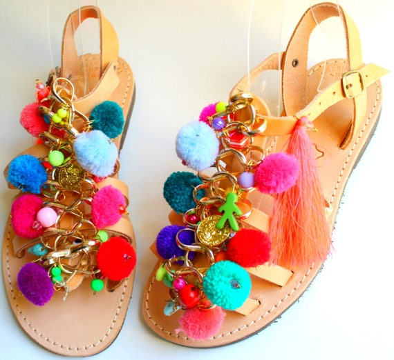 SALE Boho sandals, pompom sandals, boho gladiators, women's sandals, greek sandals sandales femme chaussure grec