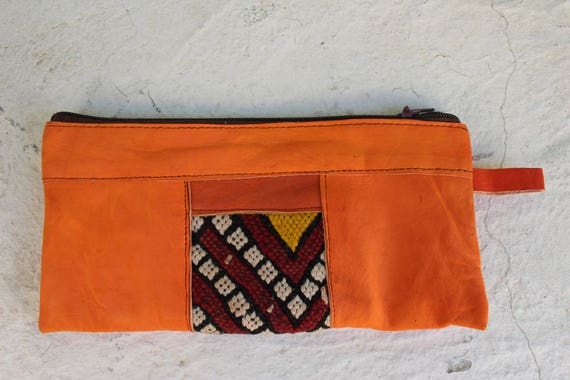 Leather wallet, orange leather womens wallet, wallet, pochette femme stocking fillers, christmas present christmas gift