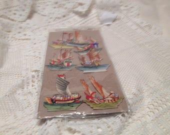 7 Vintage Multicolored Cutout Boats