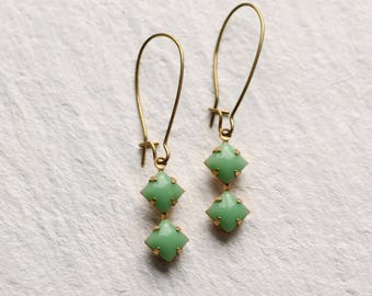 Green Deco Earrings ... Square Geometric Vintage