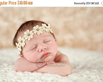 10% SALE daisy headband, hippie headband, Baby headband, newborn headband, adult headband, child headband photography prop Daisy rhinestone