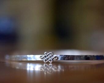 Celtic Knot Bangle, Hammered Silver Bracelet, Handmade Sterling Silver Bangle, Dainty Narrow Charm Bangle, Celtic Pattern Stacking Jewelry
