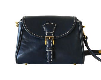 Monsac Original Navy Blue Leather Mini Messenger Crossbody Shoulder Bag