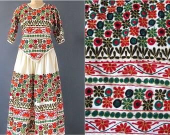Vintage Traditional Embroidered 2pc Set   Bright Embroidered Set   Top + Skirt   folk, hippie, boho   Size Medium