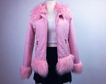 90's Fur Trim Baby Pink Puffer Cropped Jacket // S - M