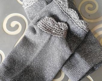 Mitaines chaussettes courtes - gris pailletée - MIA022