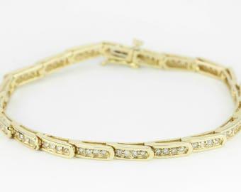 1.10tcw Diamond & Yellow Gold Tennis Bracelet 14k, Fancy Link Diamond Bracelet, Yellow Gold Bracelet, Anniversary Bracelet, Anniversary Gift