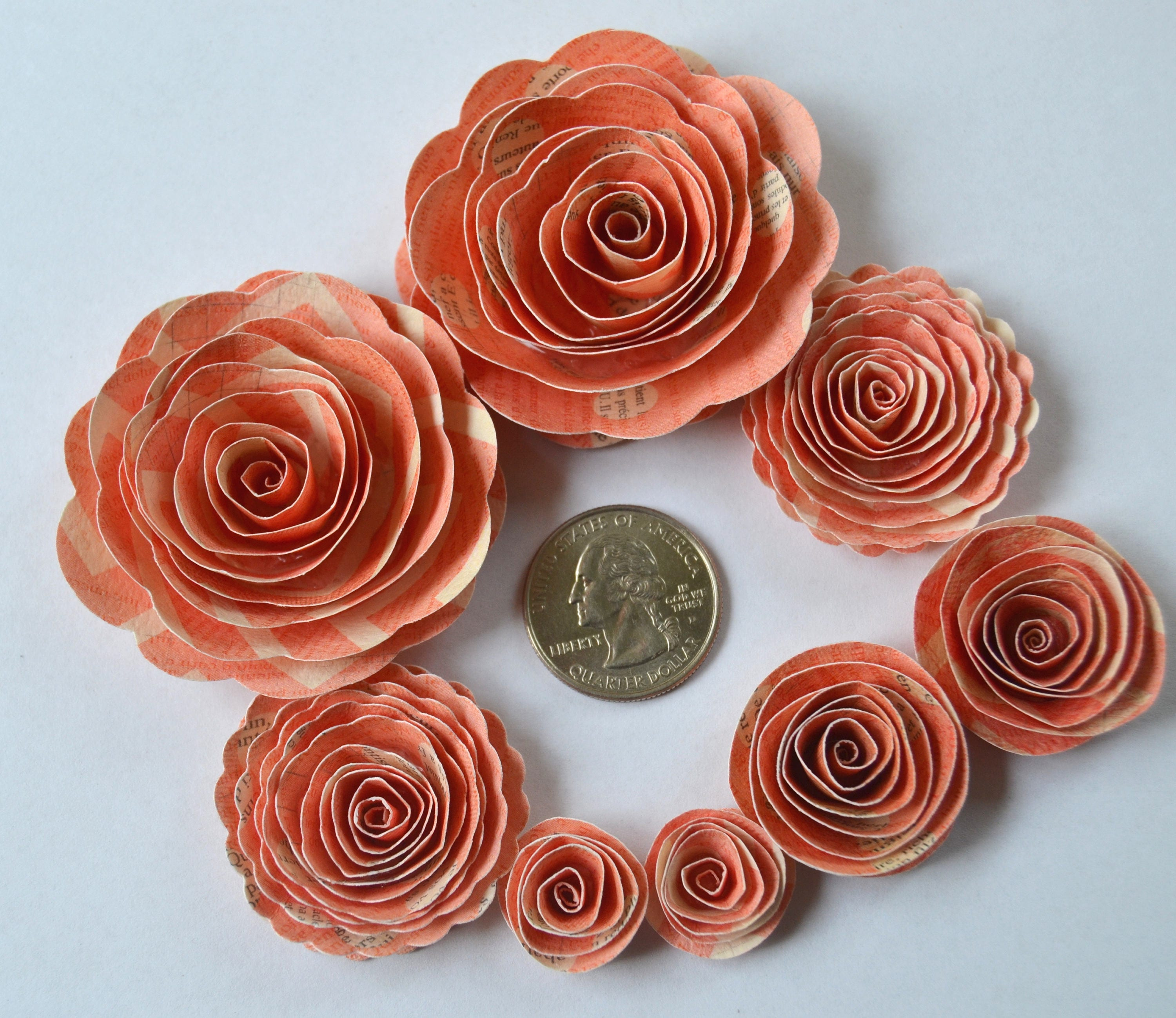 Bright Coral Rose Spiral Paper Flowers For Weddings Bouquets