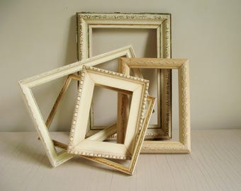 Vintage Frames , Set of 5 Open Frames , Antique White Frame Collection , Cottage Chic , Distressed Picture Frames , Vintage Wedding Decor