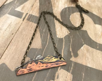 Artistic Icing original handmade rustic mountains tri color metal necklace