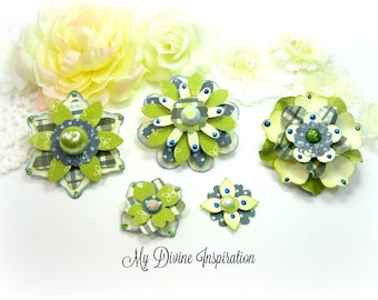 Authentique Loyal Ivory Blue Green Paper Embellishments and Paper Flowers for Scrapbook Layouts Cards Mini Albums and Paper Crafts