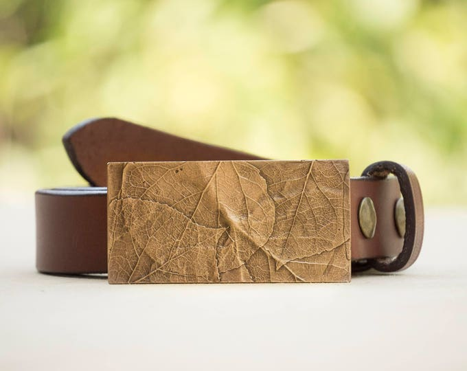 "Aspen 1.5"" Bronze Belt Buckle and Top Grain Leather Strap"